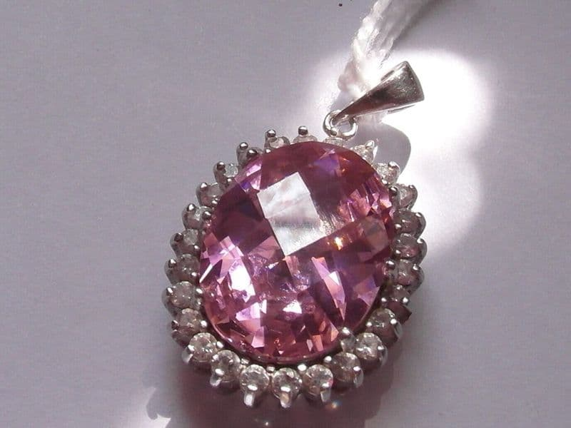 373E LADIES STERLING SILVER PINK AND CLEAR ZIRCONIA PENDANT